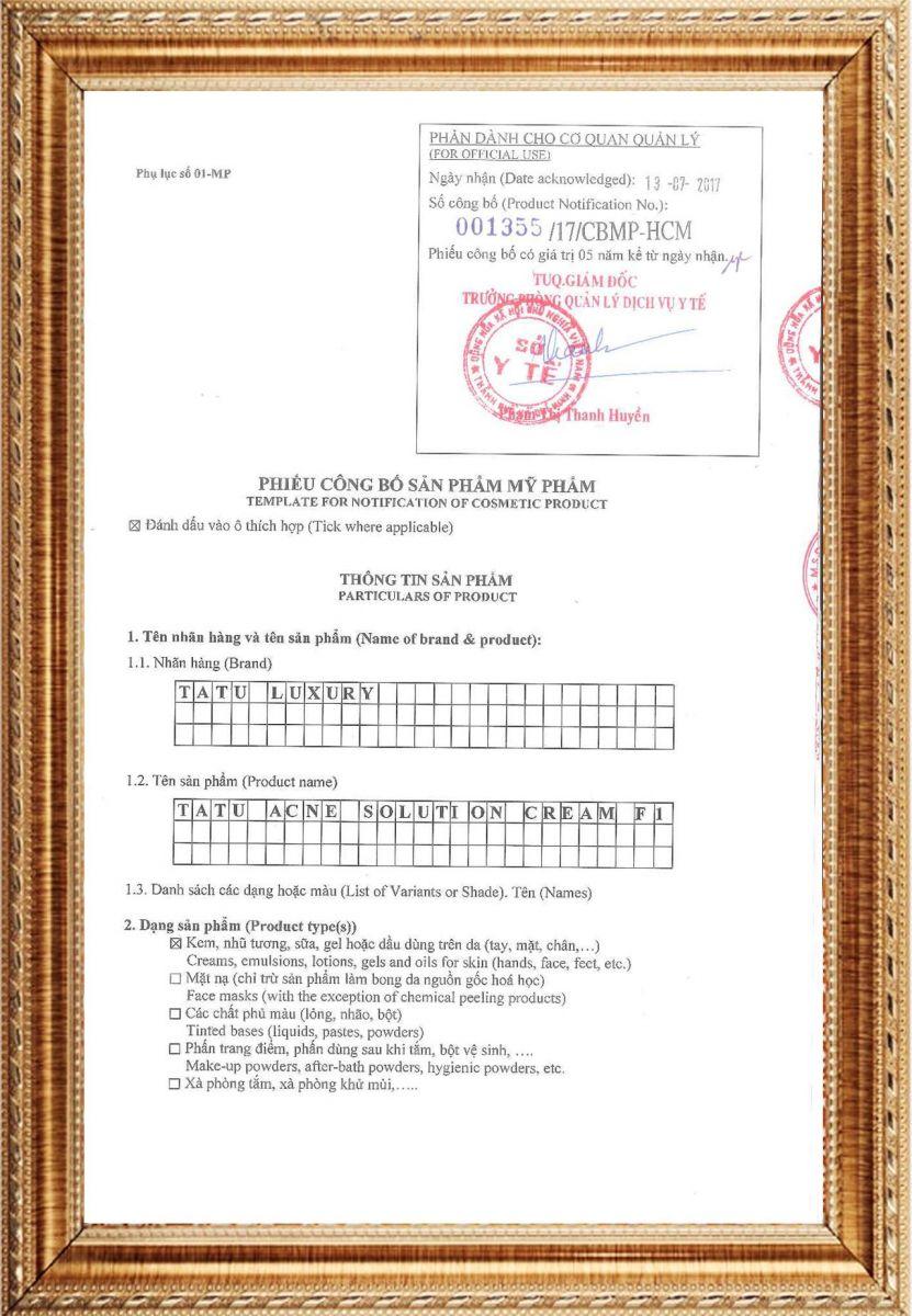 giấy công bố chất lượng sản phẩm tatu luxury